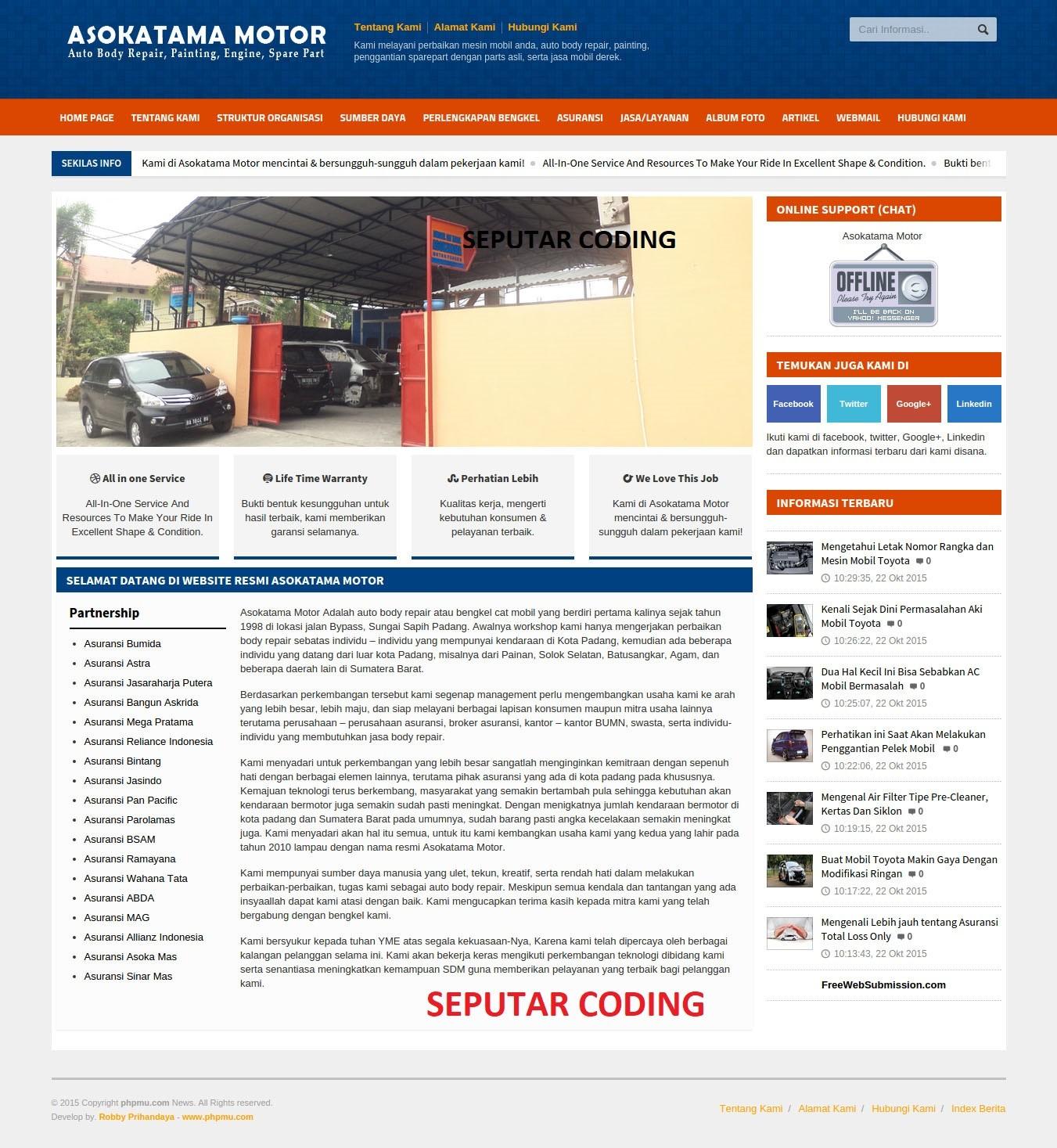 Download Website Company Profile Bengkel Mobil Responsive